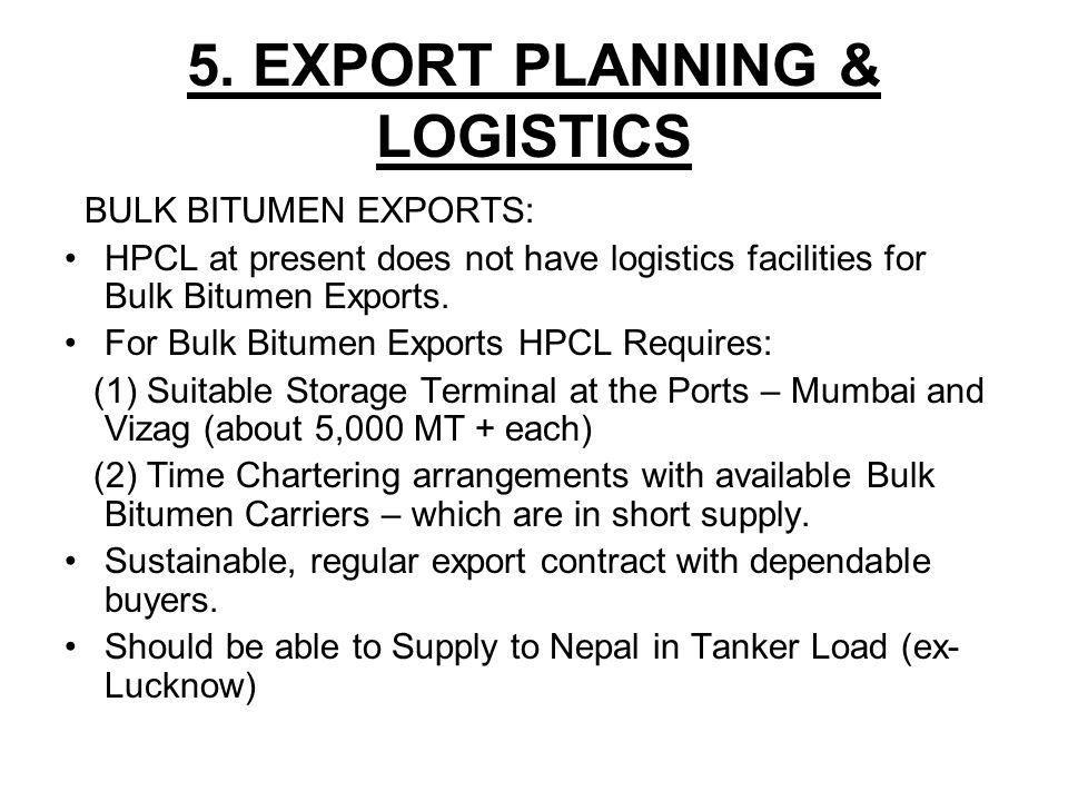 5. EXPORT PLANNING & LOGISTICS