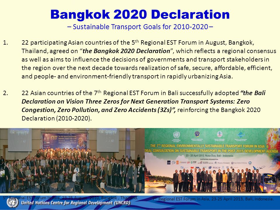– Sustainable Transport Goals for 2010-2020 –