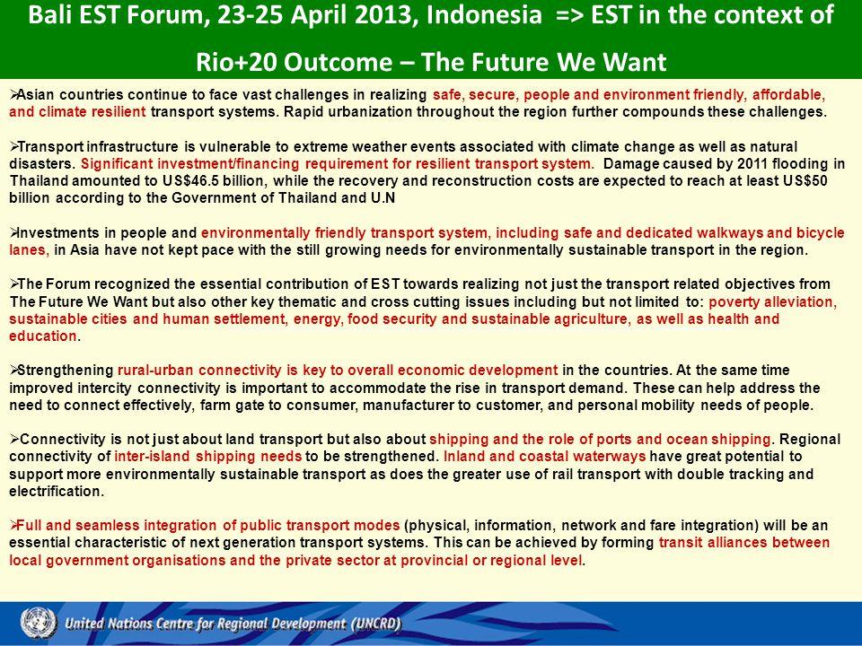 Bali EST Forum, 23-25 April 2013, Indonesia => EST in the context of Rio+20 Outcome – The Future We Want