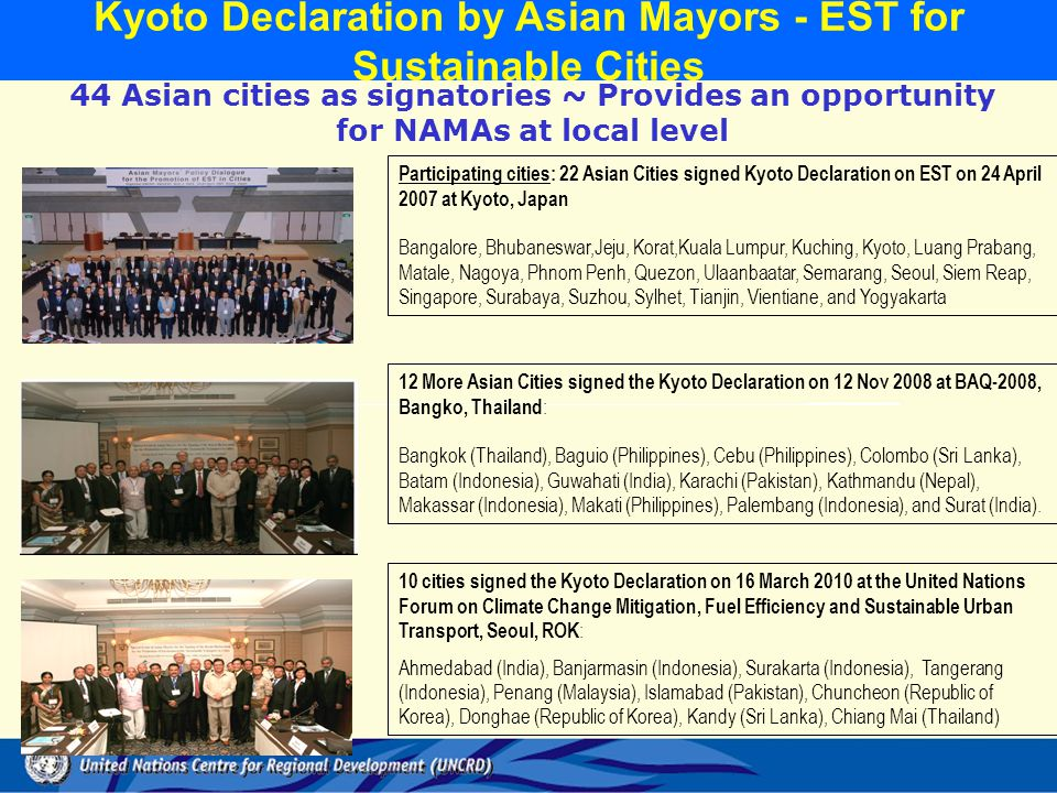 Kyoto Declaration by Asian Mayors - EST for Sustainable Cities