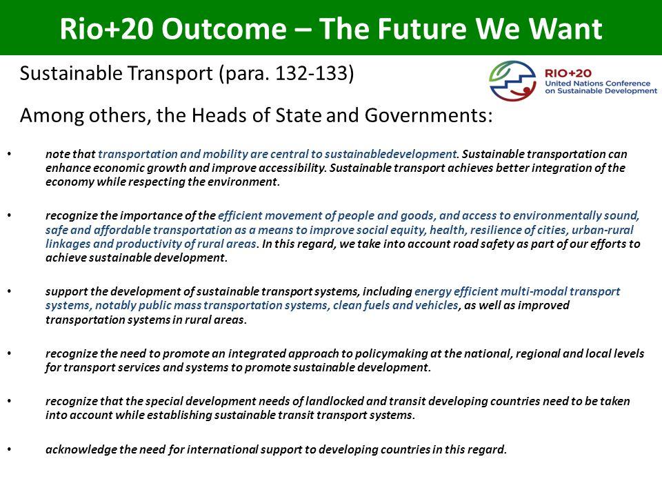 Rio+20 Outcome – The Future We Want