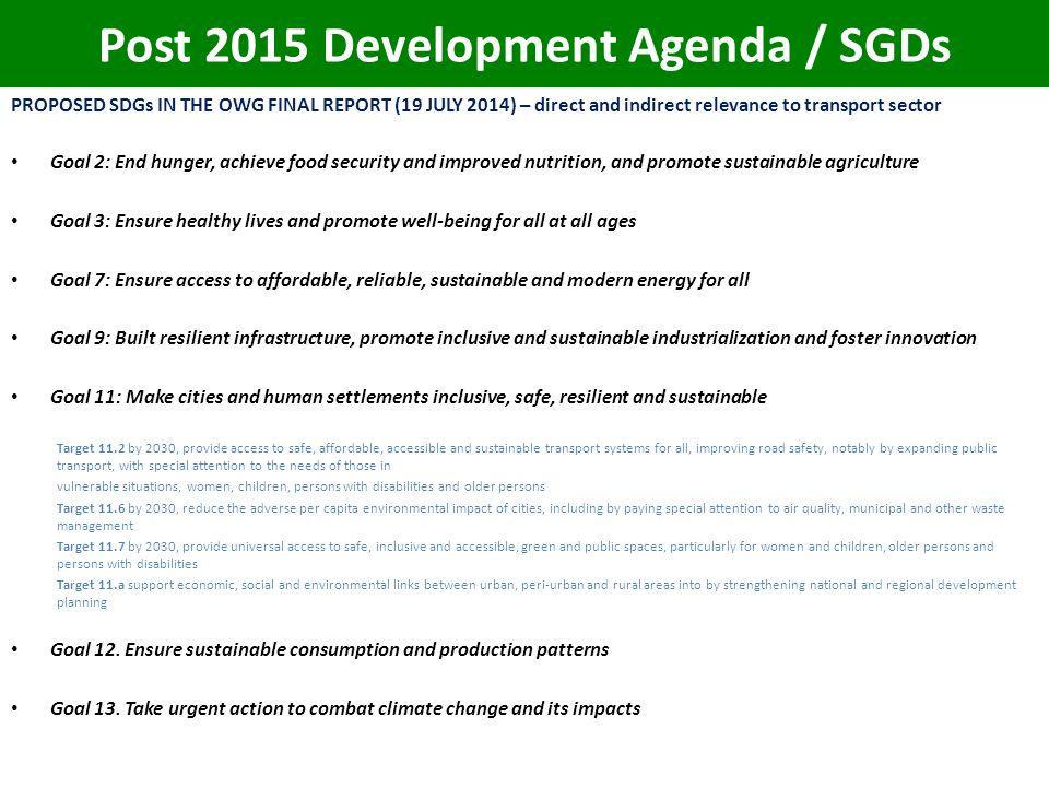 Post 2015 Development Agenda / SGDs