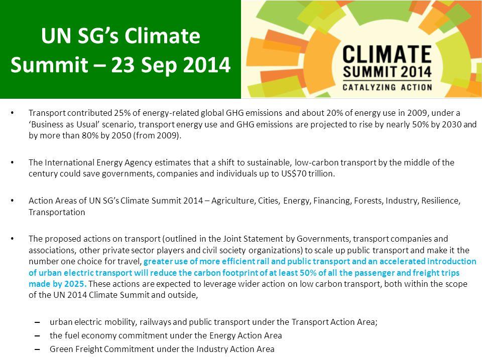 UN SG's Climate Summit – 23 Sep 2014