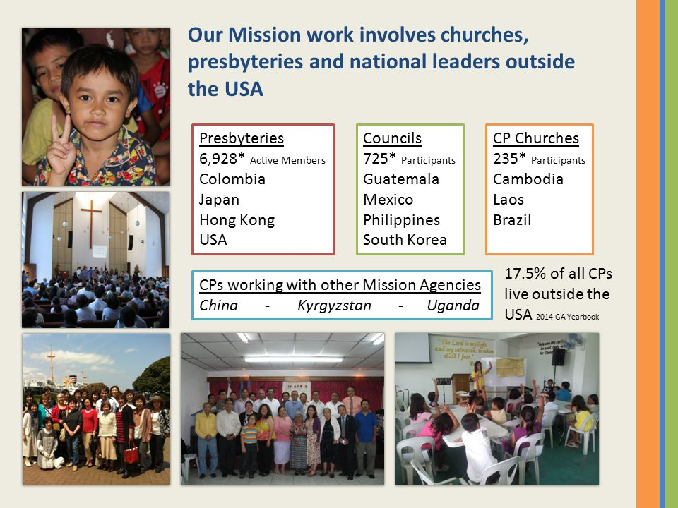 Our Mission work involves churches, presbyteries and national leaders outside the USA