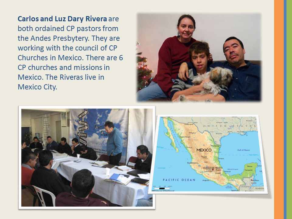 Carlos and Luz Dary Rivera are both ordained CP pastors from the Andes Presbytery.