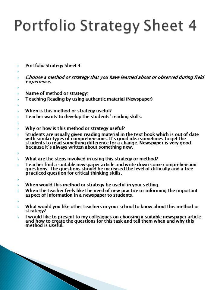 Portfolio Strategy Sheet 4