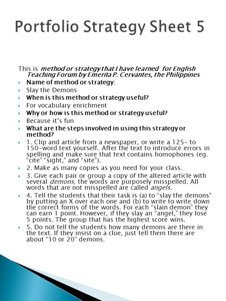 Portfolio Strategy Sheet 5