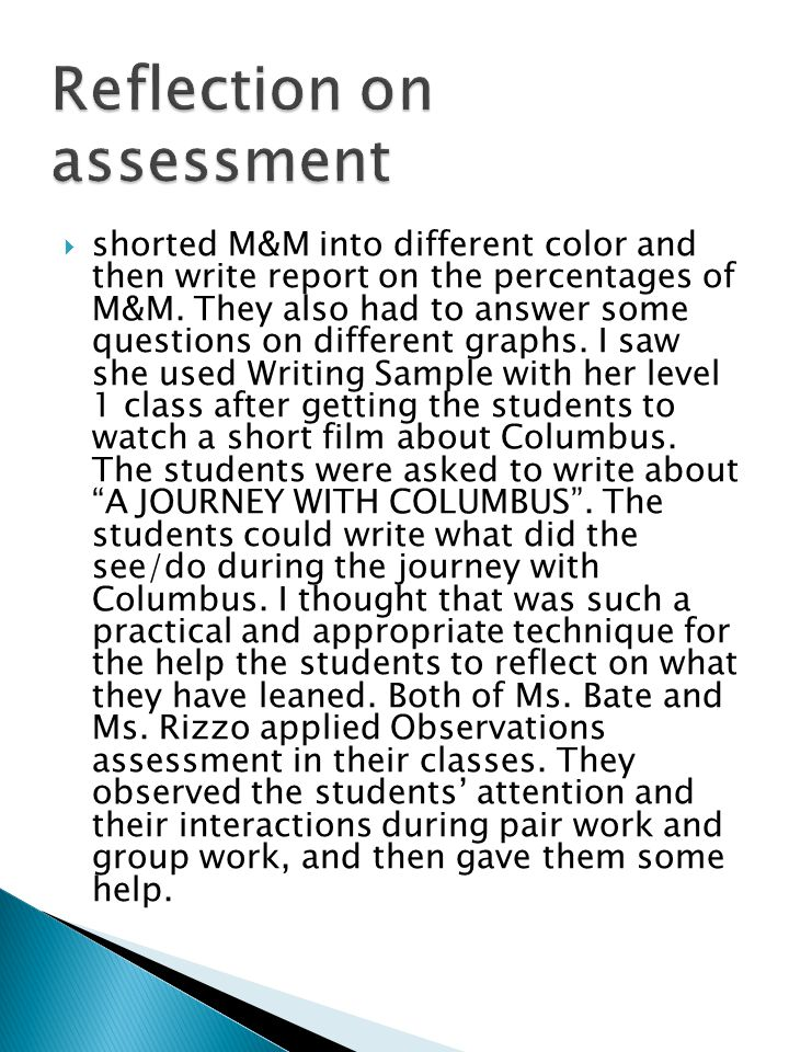 Reflection on assessment