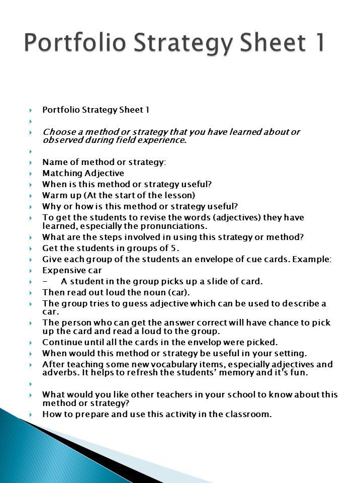 Portfolio Strategy Sheet 1