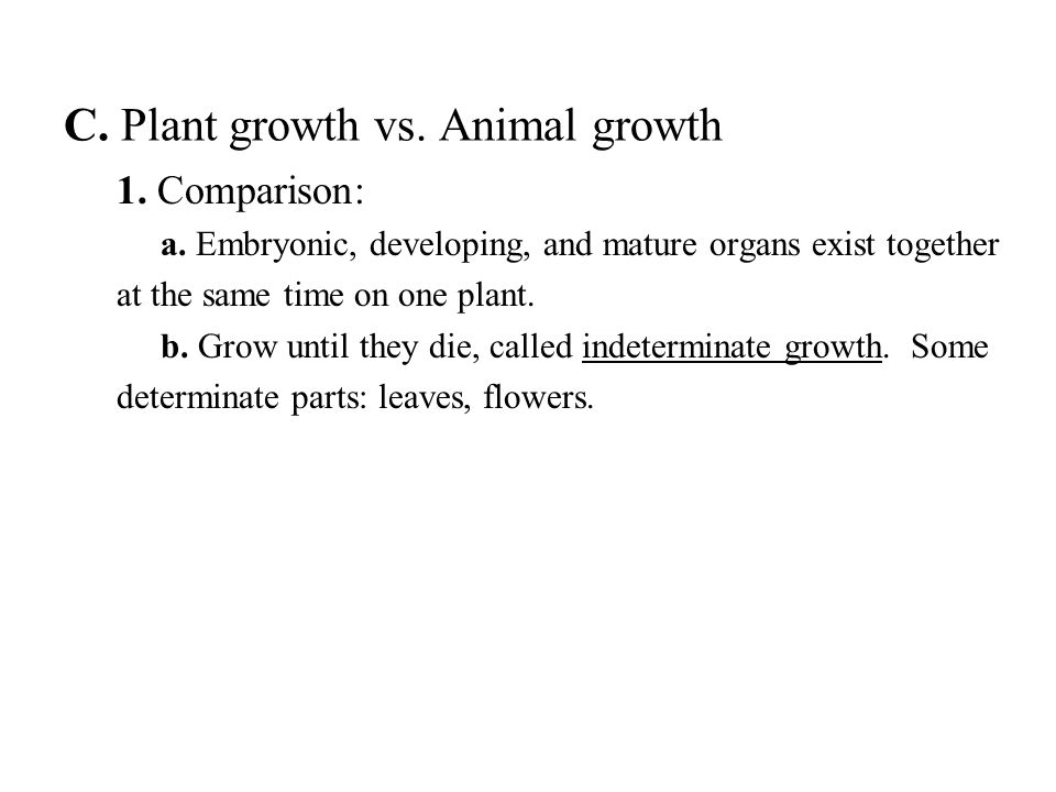 C. Plant growth vs. Animal growth