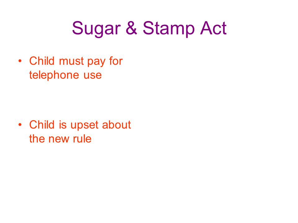 Sugar & Stamp Act Child must pay for telephone use