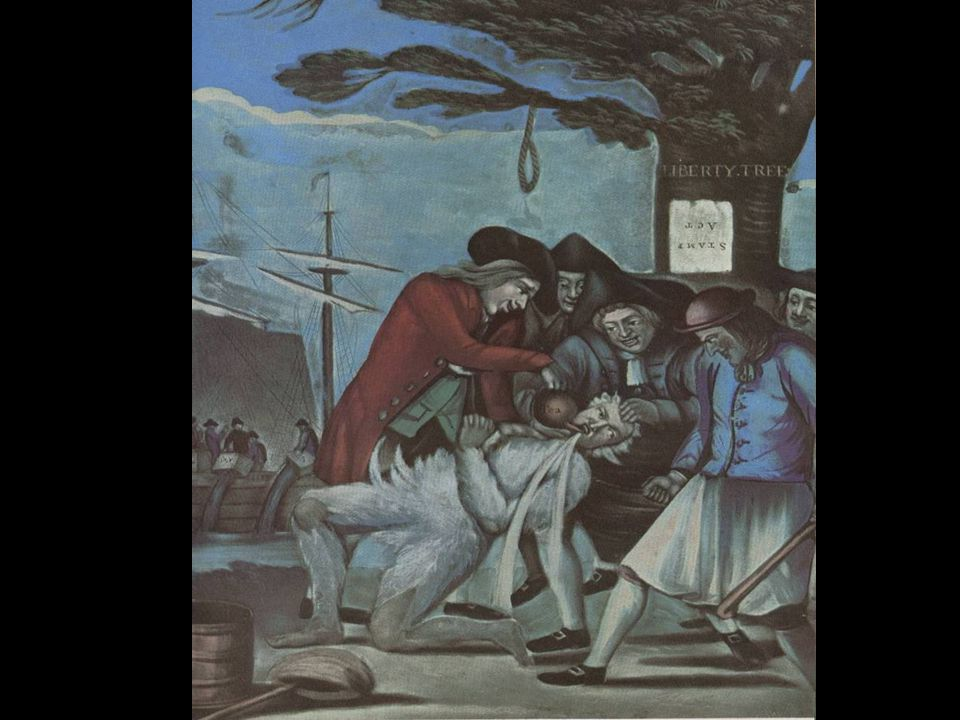 Paying the Exciseman 5 Bostonians pouring tea down the throat of a tarred & feathered tax collector.