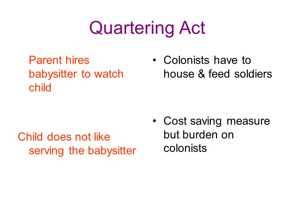 Quartering Act Parent hires babysitter to watch child