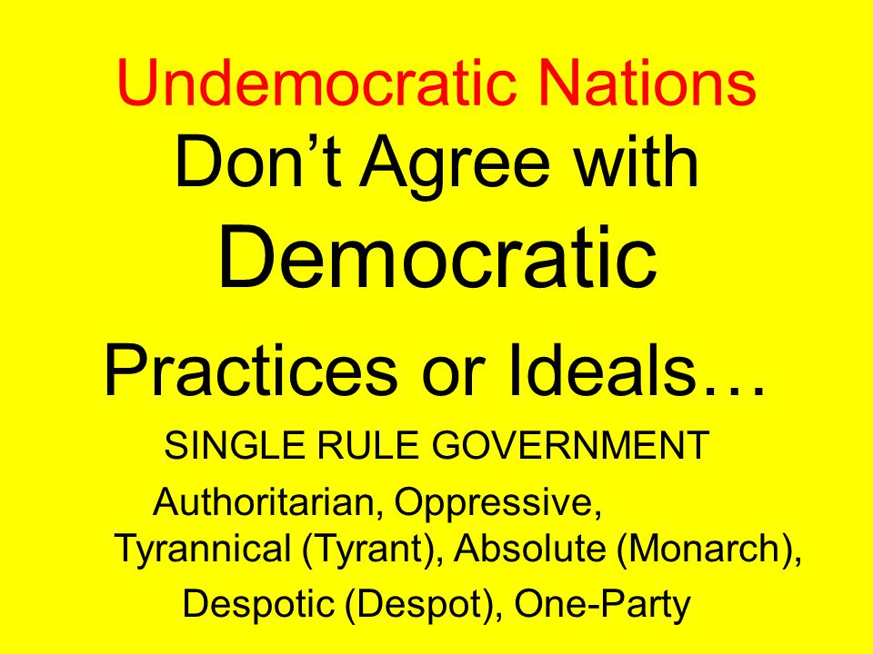 Don't Agree with Democratic Practices or Ideals…