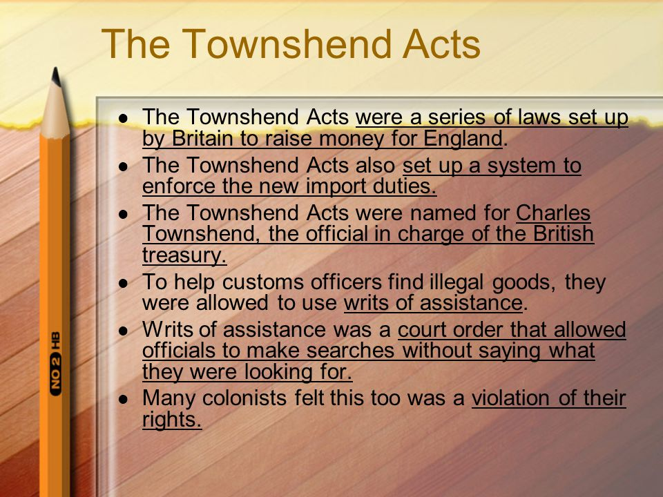 The Townshend Acts The Townshend Acts were a series of laws set up by Britain to raise money for England.