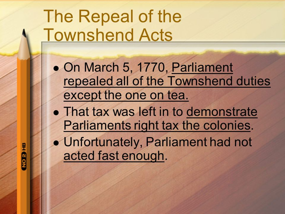 The Repeal of the Townshend Acts
