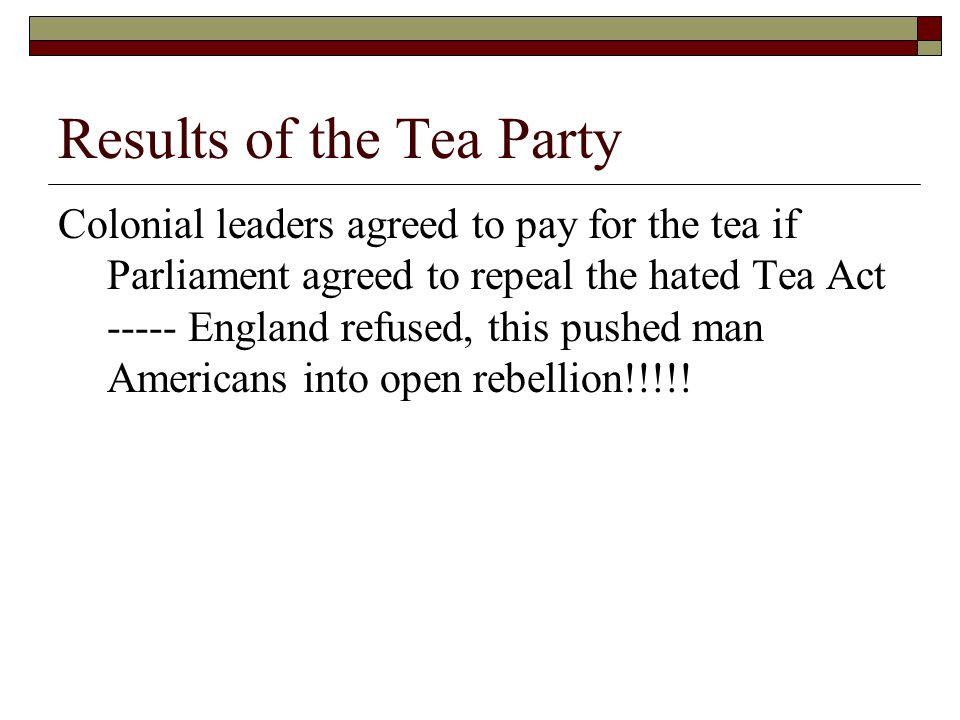 Results of the Tea Party