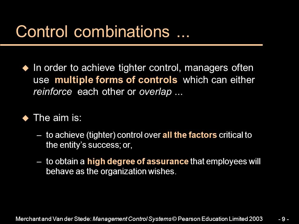 Control combinations ...