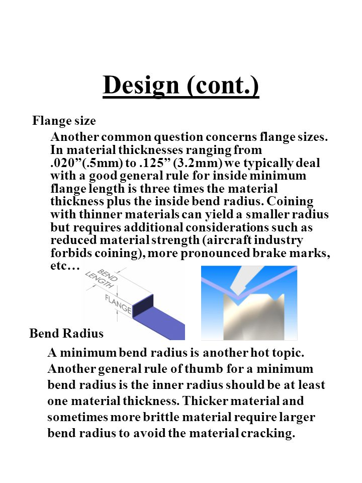 Design (cont.) Flange size