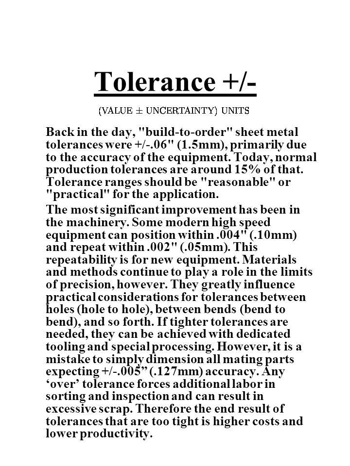 Tolerance +/-