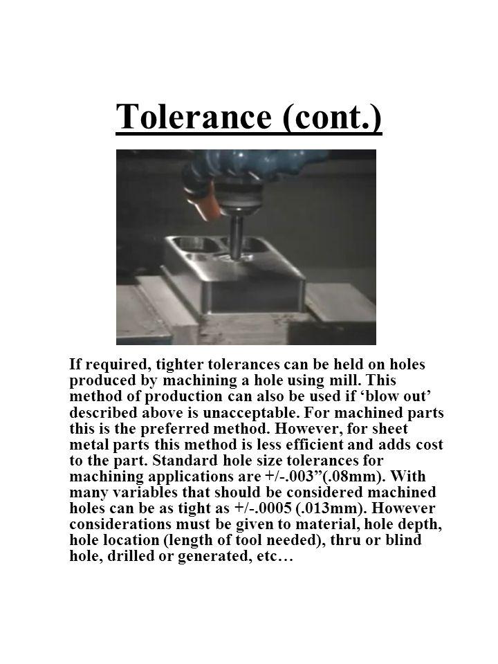 Tolerance (cont.)