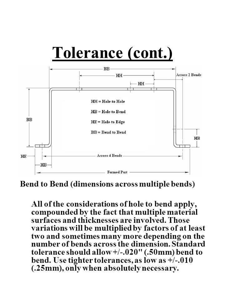 Tolerance (cont.) Bend to Bend (dimensions across multiple bends)