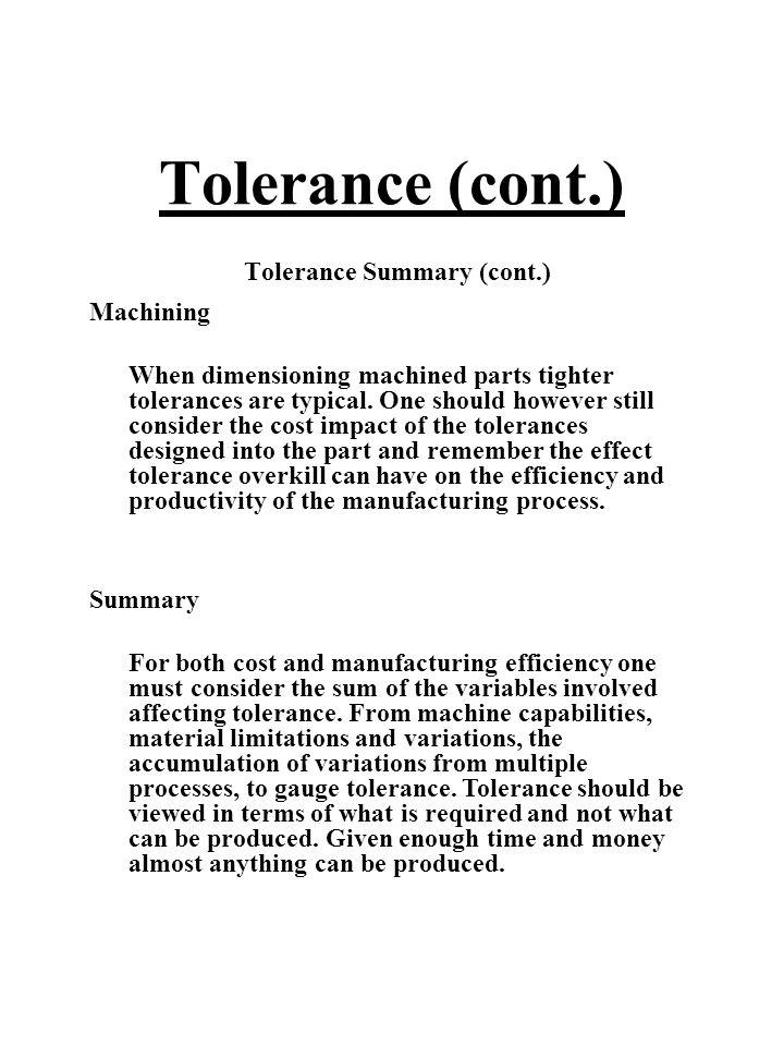 Tolerance Summary (cont.)