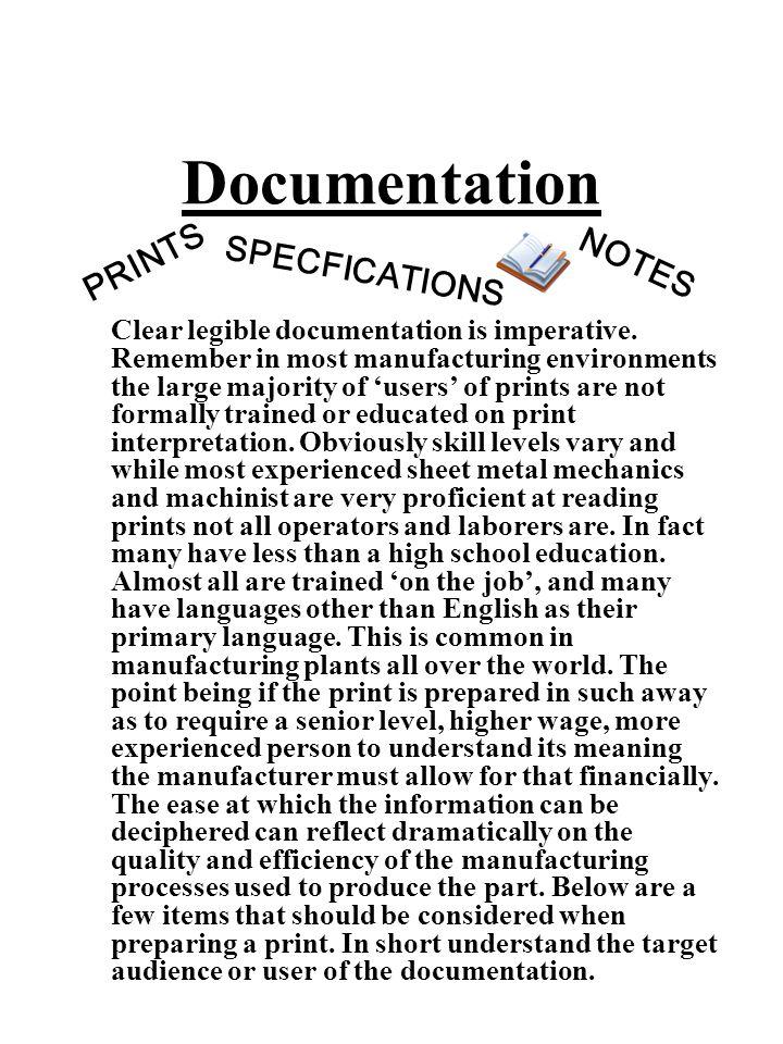 Documentation PRINTS NOTES SPECFICATIONS