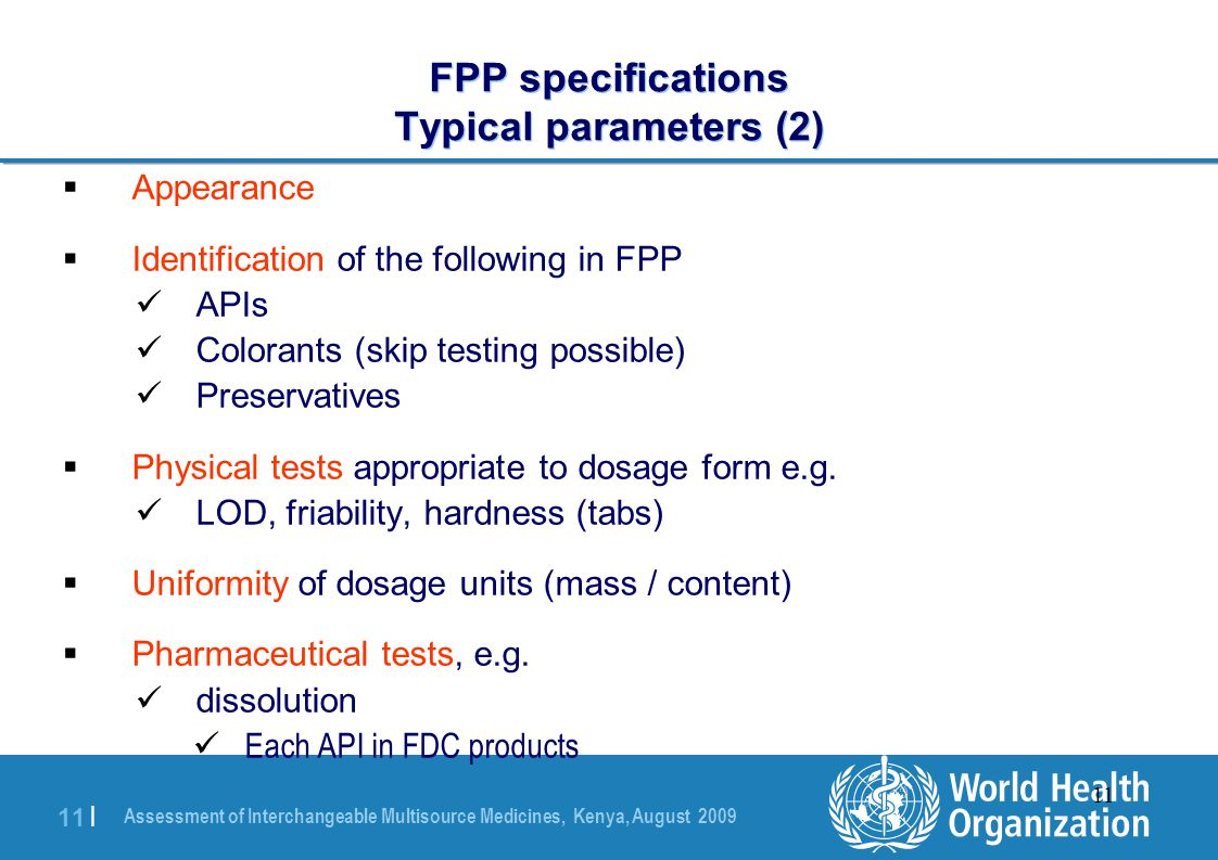 FPP specifications Typical parameters (2)