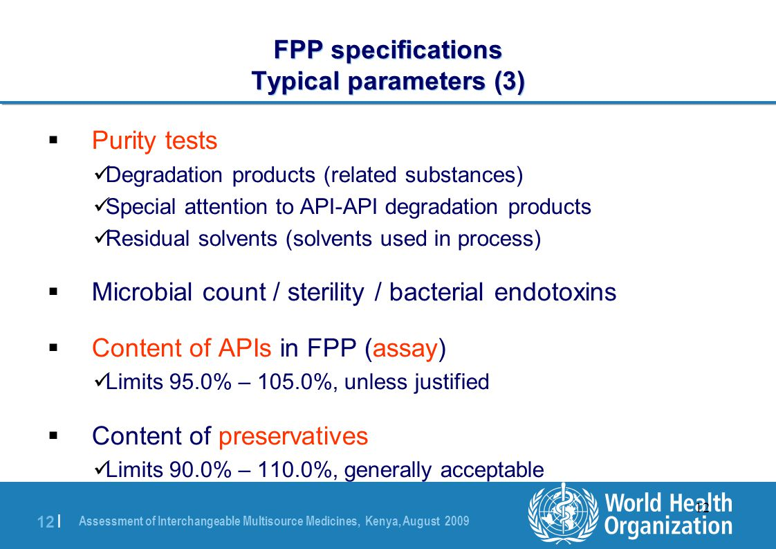 FPP specifications Typical parameters (3)