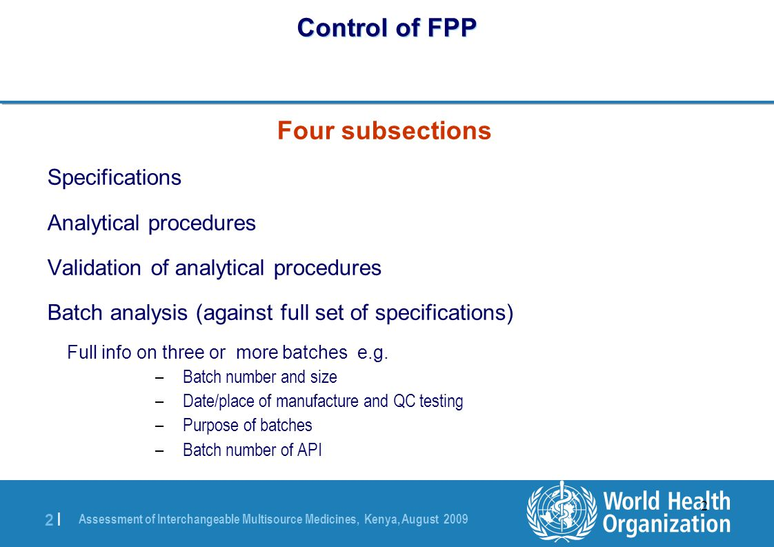 Control of FPP Four subsections