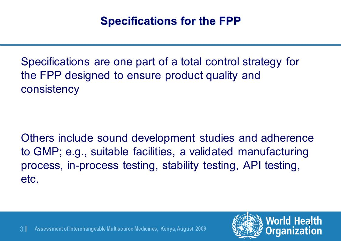 Specifications for the FPP