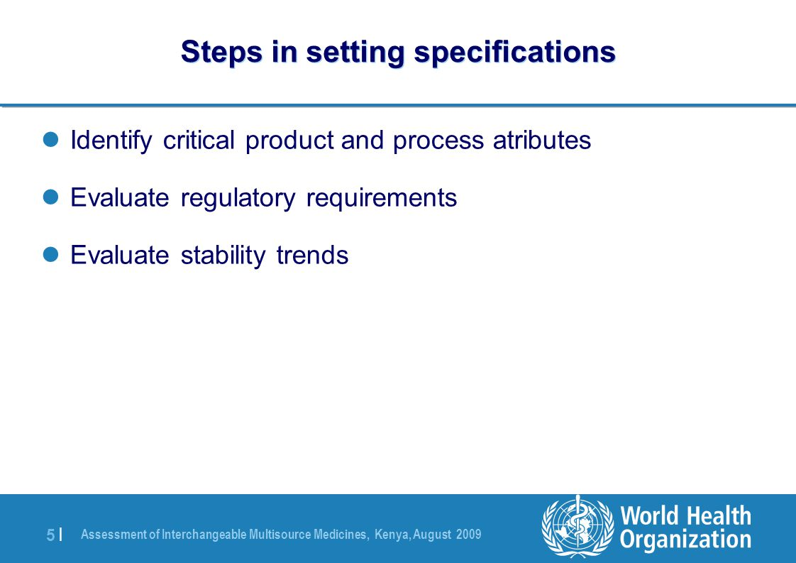 Steps in setting specifications