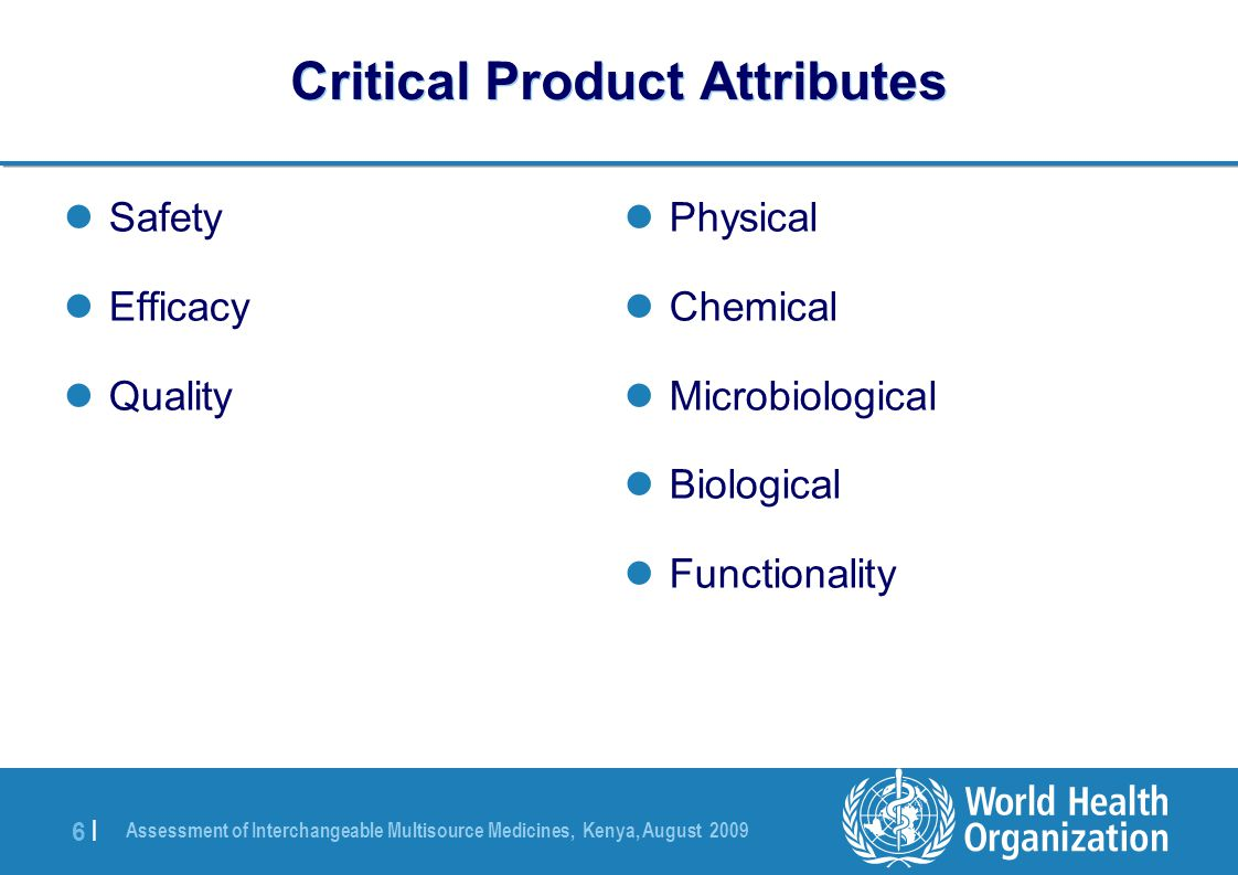 Critical Product Attributes
