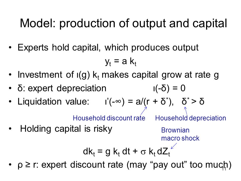 Model: production of output and capital