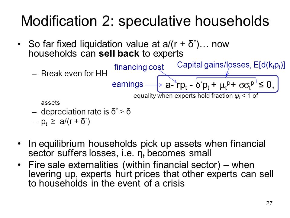 Modification 2: speculative households