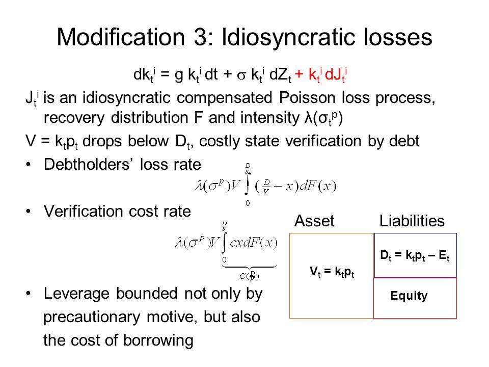 Modification 3: Idiosyncratic losses