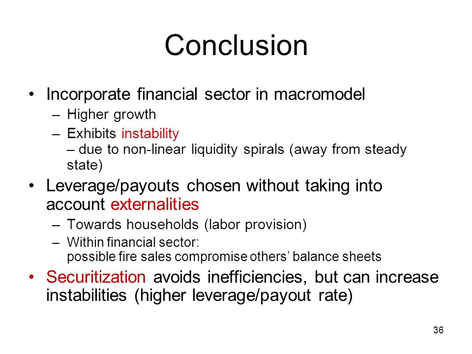 Conclusion Incorporate financial sector in macromodel
