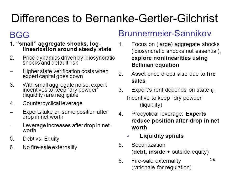 Differences to Bernanke-Gertler-Gilchrist