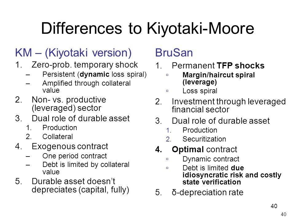 Differences to Kiyotaki-Moore