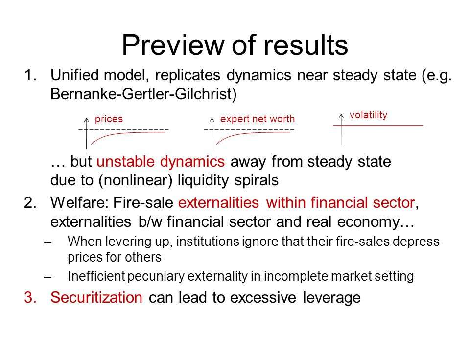 Preview of results Unified model, replicates dynamics near steady state (e.g. Bernanke-Gertler-Gilchrist)