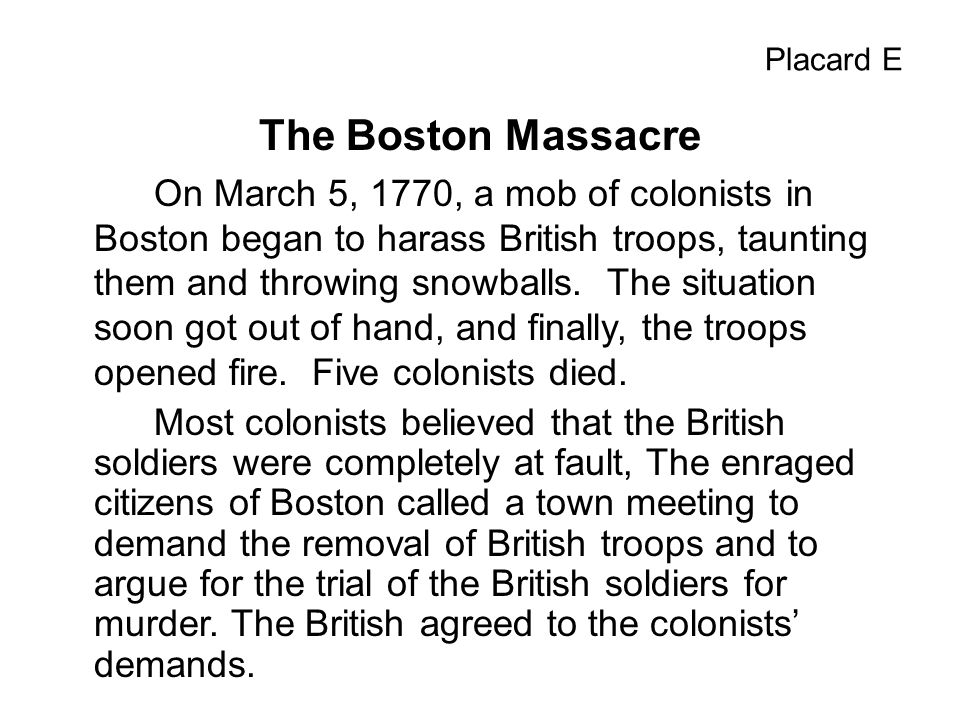 Placard E The Boston Massacre.