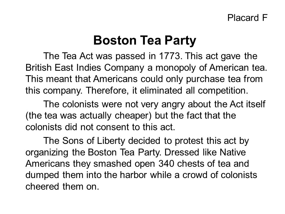 Boston Tea Party Placard F