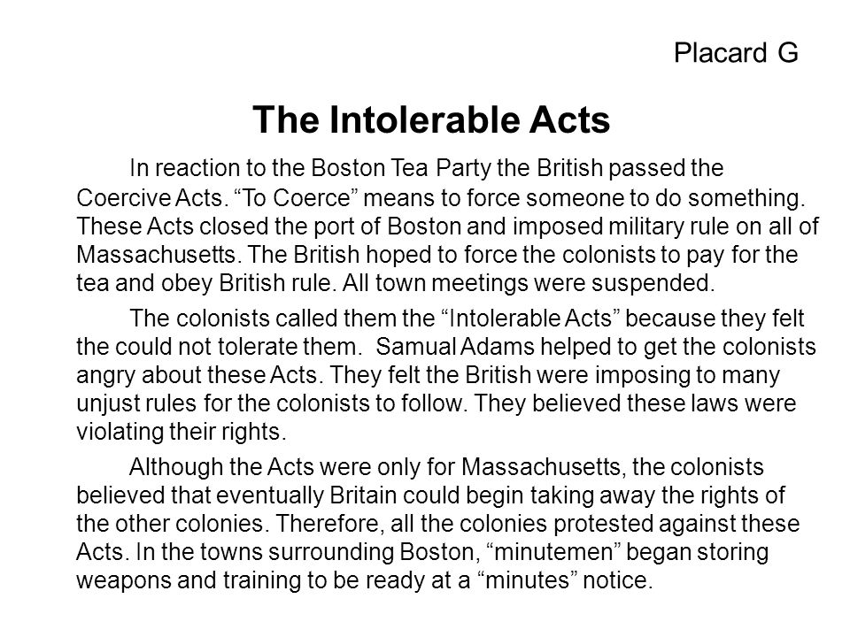 The Intolerable Acts Placard G