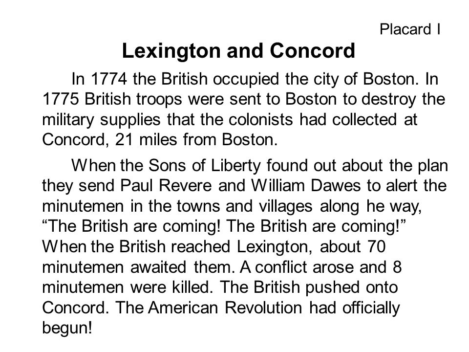 Placard I Lexington and Concord.