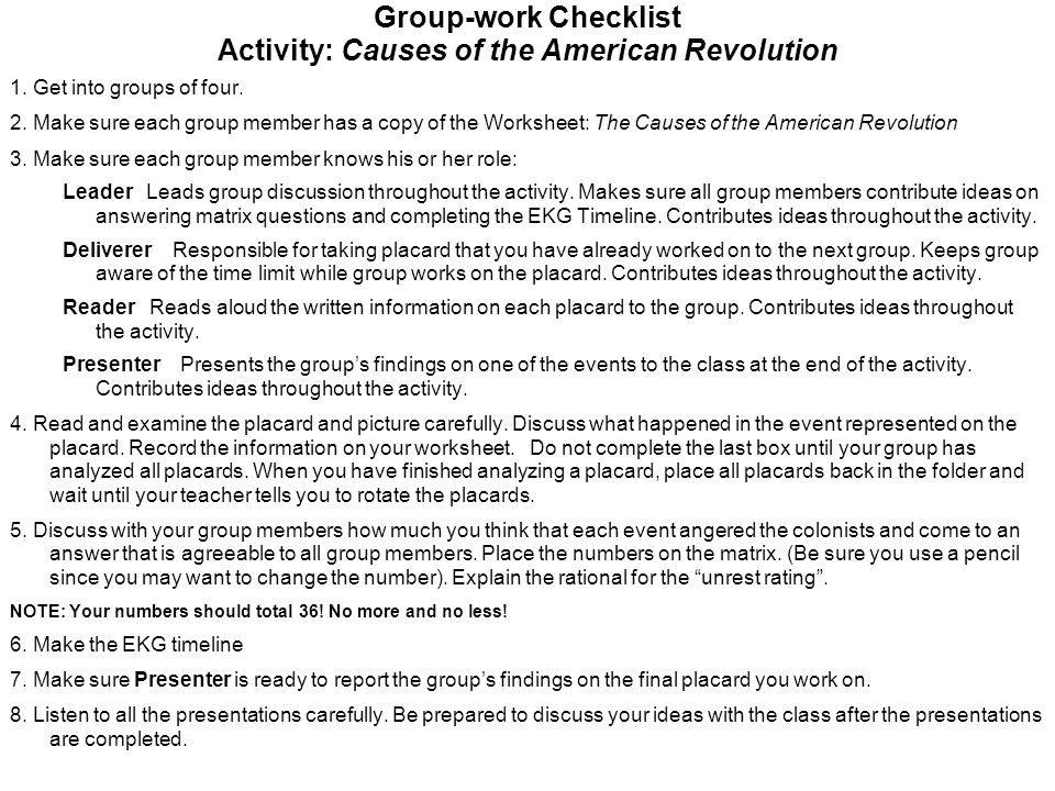 Group-work Checklist Activity: Causes of the American Revolution