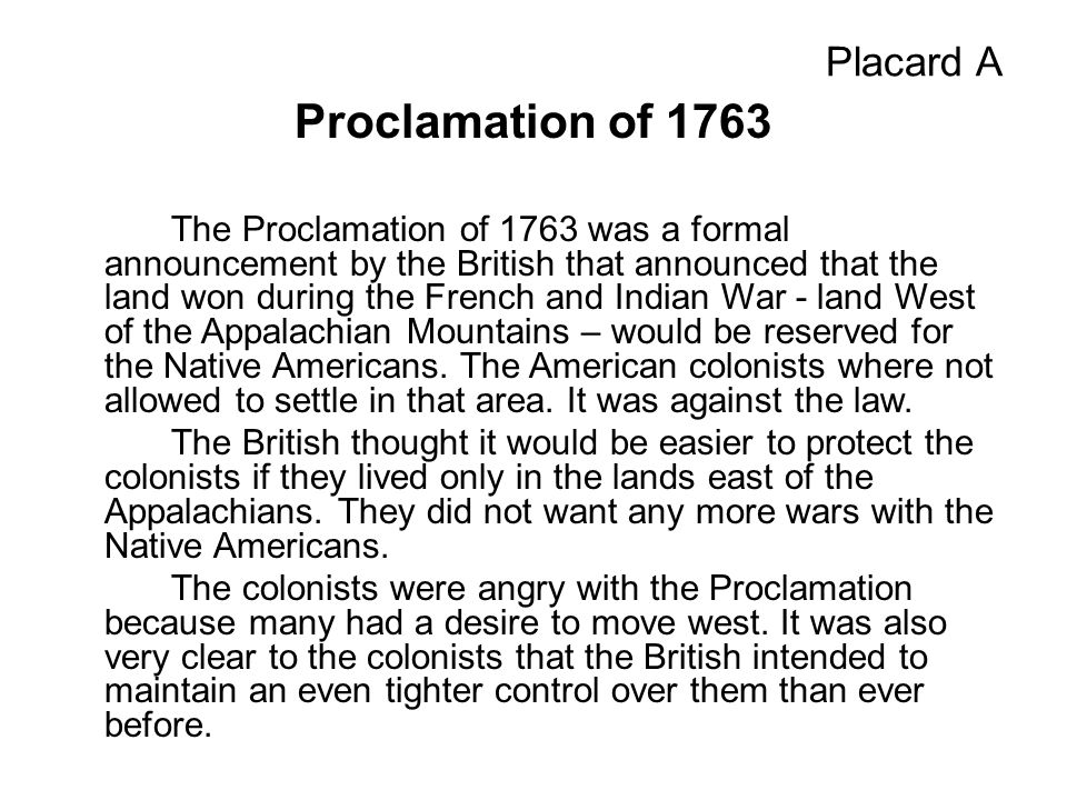 Proclamation of 1763 Placard A