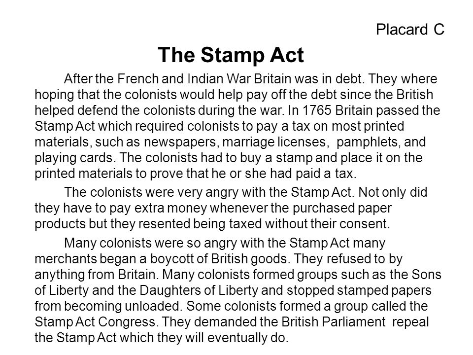 Placard C The Stamp Act.