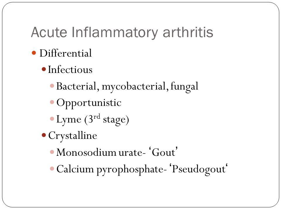Acute Inflammatory arthritis