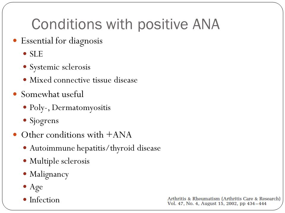 Conditions with positive ANA